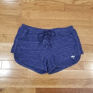 Pink blue lace-up front shorts S